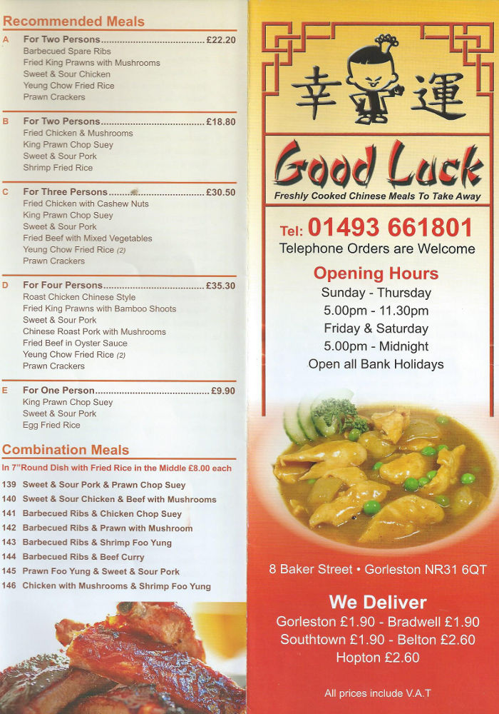 good luck menu gorleston on sea chinese take away delivery