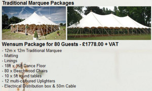 marquee packages prices costs wedding party hire hiring