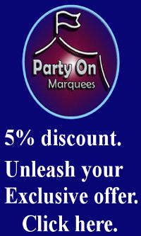 party on marquees wedding 5% discount offer promotion banner