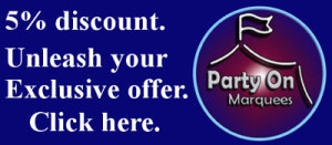 party on marquees 5% discount offer promotion banner