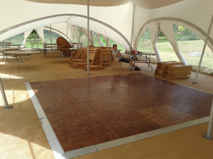 trapeze double dancefloor band hire wedding marquees